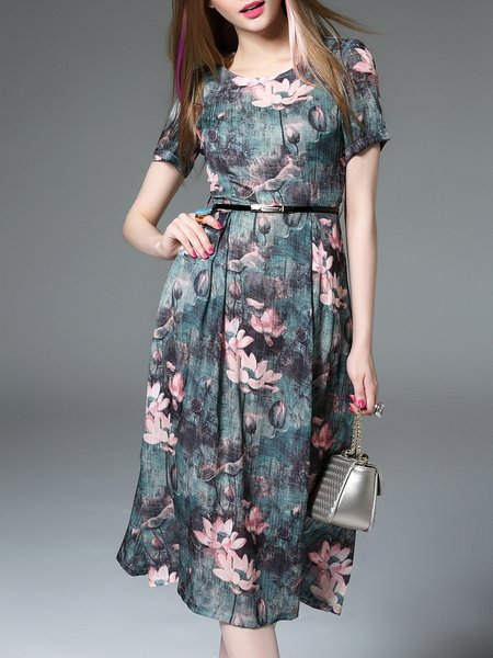 Green A-line Floral-print Short Sleeve Midi Dress