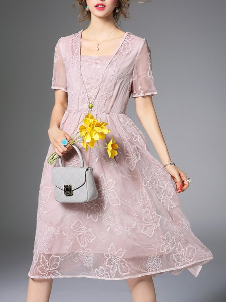 Pink A-line Silk Vintage Glitter-finished Midi Dress