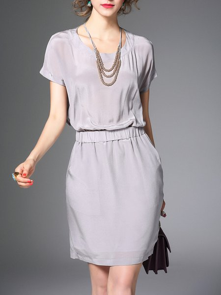 Gray Shirred Plain Sheath Short Sleeve Mini Dress