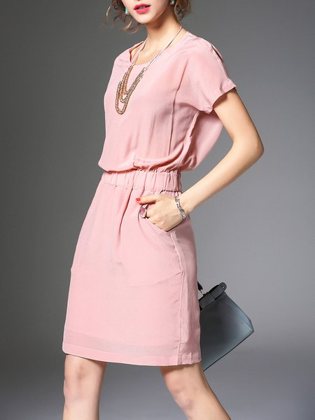 Casual Short Sleeve Silk Crew Neck Shirred Mini Dress