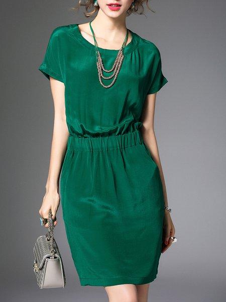 Pockets Short Sleeve Crew Neck Simple Mini Dress