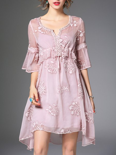 Pink Embroidered Girly Two Piece Midi Dress