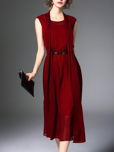 Red Paneled Shift Sleeveless Plain Midi Dress with Belt
