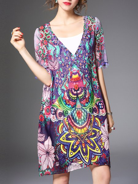 Multicolor Two Piece Tribal Vintage Mini Dress