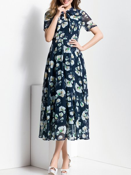Navy Blue Swing Beach Floral Midi Dress