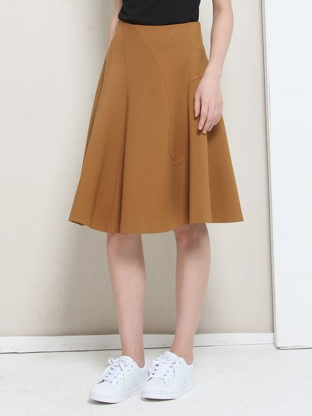 Brown A-line Elegant Plain Ruffled Midi Skirt