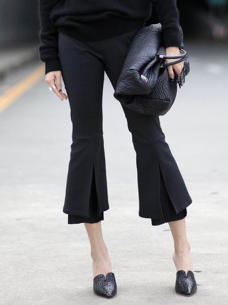Black Plain Elegant A-line Flared Pants