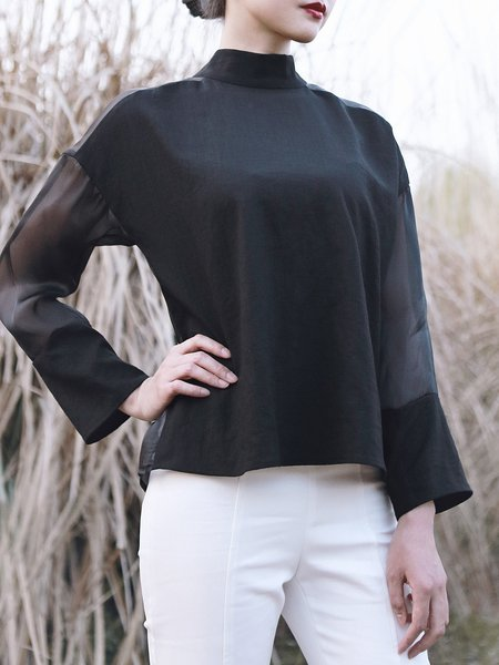 Lace Up Casual Long Sleeve See-through Look Blouse