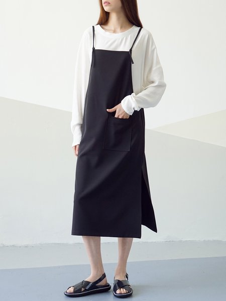 Black Simple Spaghetti Plain Midi Dress