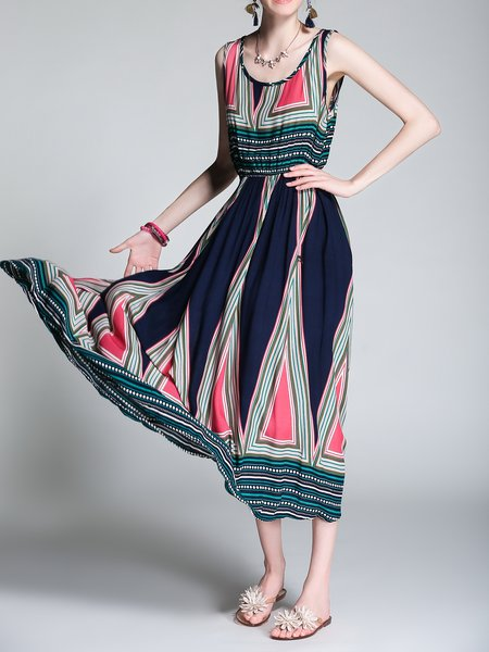 Green Boho Stripes Midi Dress
