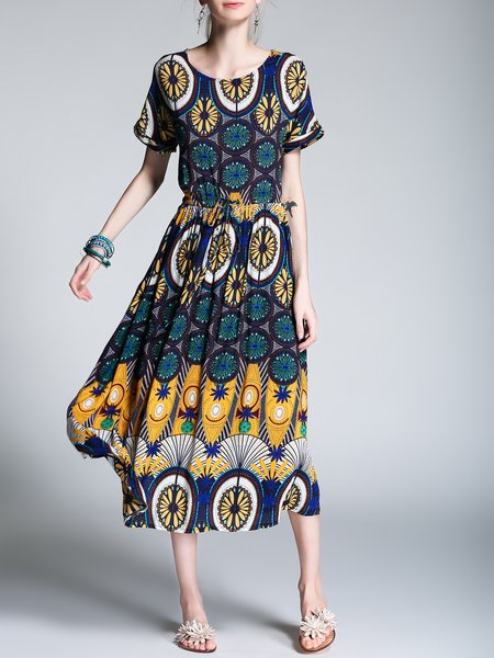 Yellow Crew Neck Printed Beach Midi Dress
