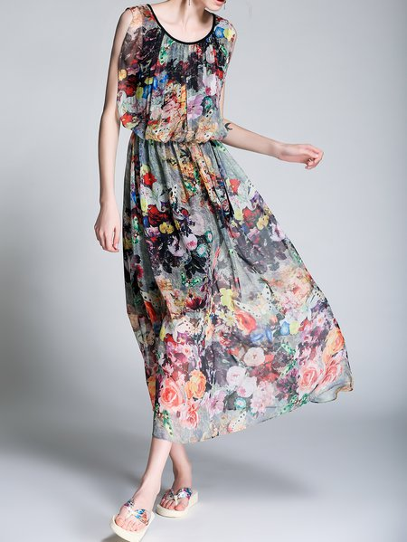 Multicolor A-line Sleeveless Floral Cotton-blend Midi Dress