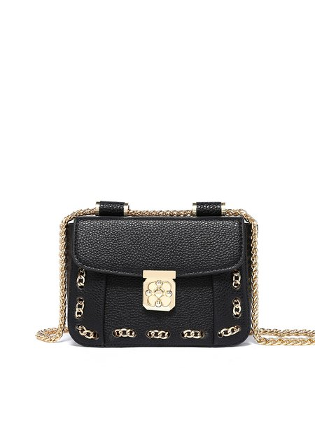 Mini Casual PU Twist Lock Crossbody