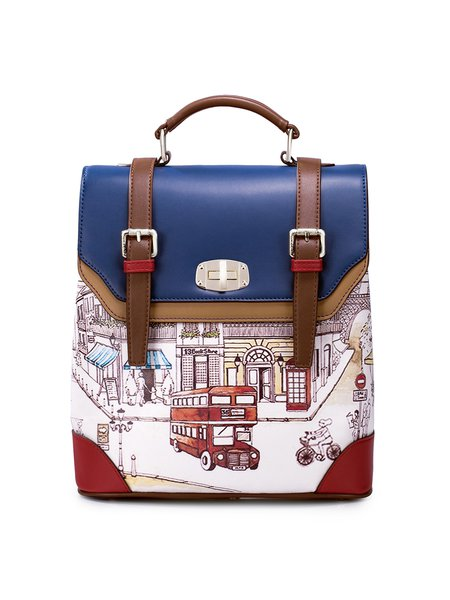 Multicolor Statement Printed Twist Lock Backpack