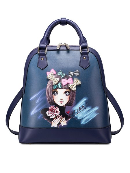 Dark Blue Sweet Bow Printed PU Zipper Backpack