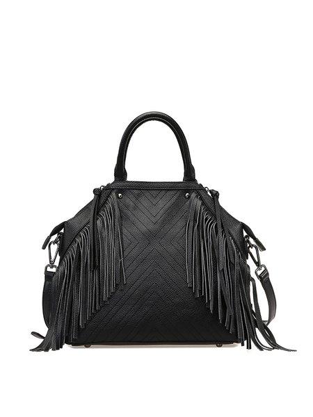 Black Casual Cowhide Leather Medium Satchel
