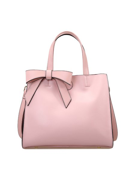 Pink Bowknot Solid Cowhide Leather Sweet Top Handle