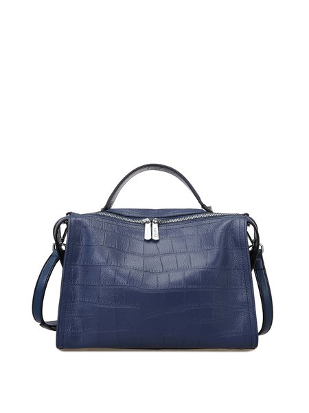 Blue Casual Zipper Satchel