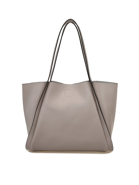 Light Gray Zipper Cowhide Leather Tote