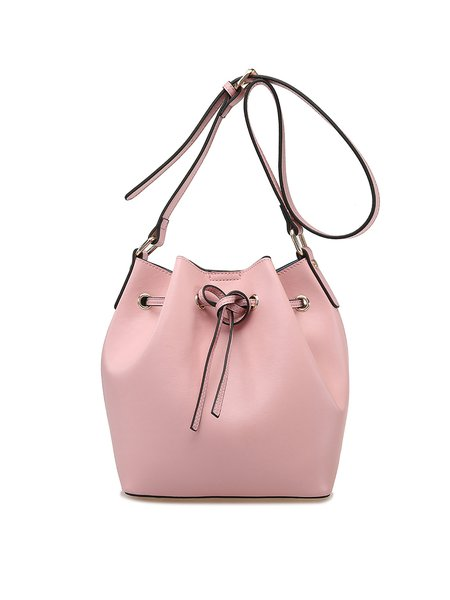 Pink Snap Cowhide Leather Shoulder Bag