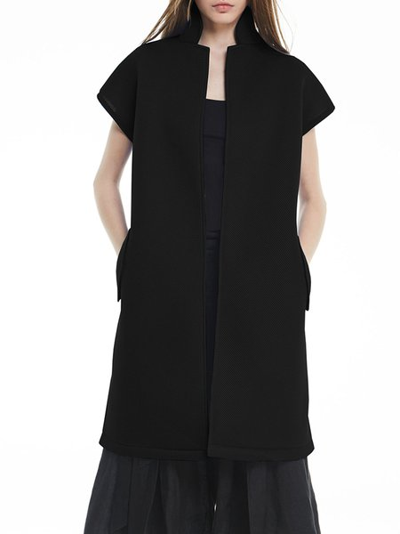 Black Plain Short Sleeve Vests And Gilet