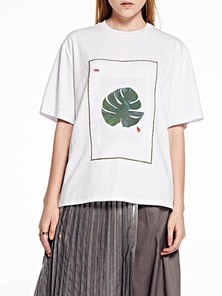 White Casual Graphic Spandex T-Shirt