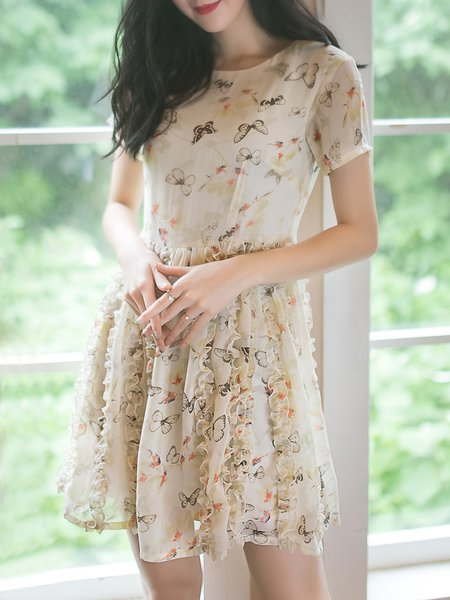 Apricot Ruffled Crew Neck Sweet Mini Dress