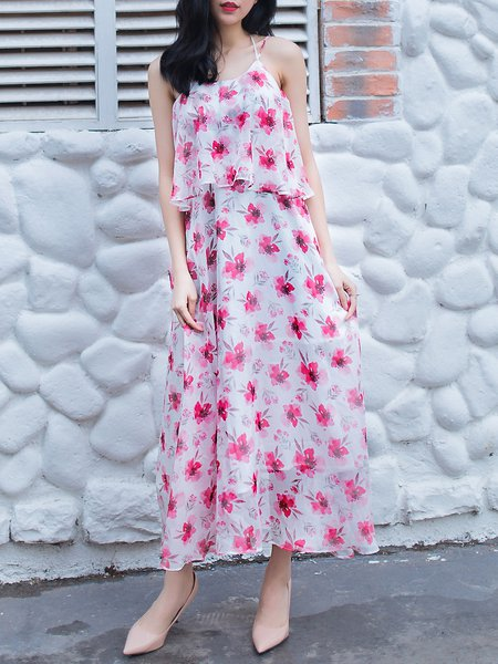 Casual Floral Spaghetti Maxi Dress
