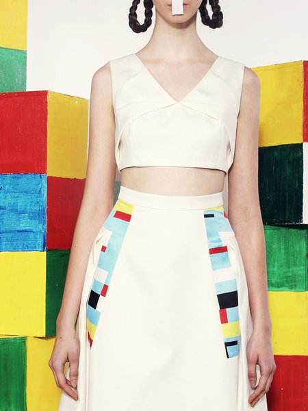 White Polyester Plain Sleeveless Cropped Top