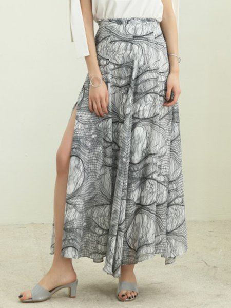 Multicolor Vintage Polyester A-line Maxi Skirt