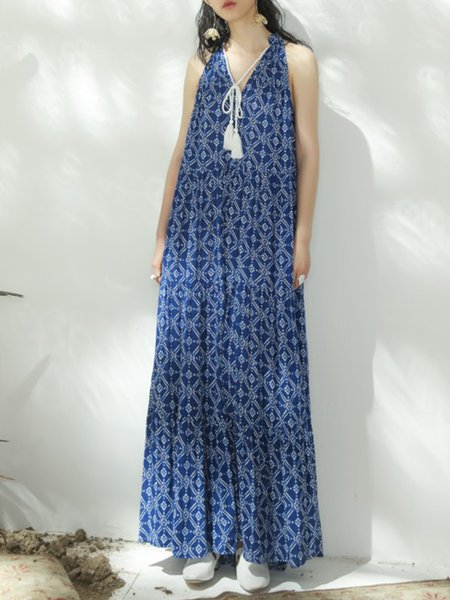 Blue A-line Sleeveless Polyester Maxi Dress