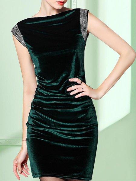 Green Elegant Paneled Velvet Mini Dress
