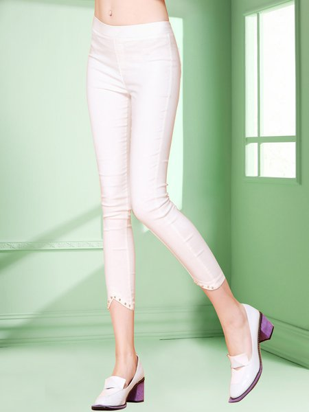 White Work Plain Beaded Legging