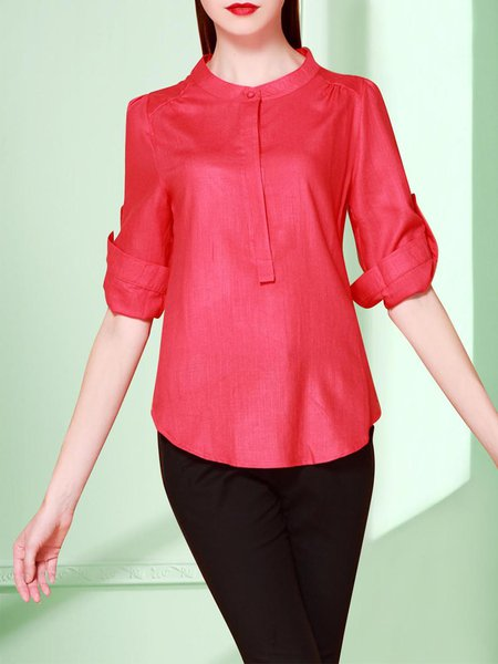Red Plain Stand Collar Work Blouse