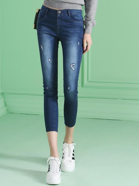 Blue Casual Plain Cotton Pockets Denim Skinny Leg Pants