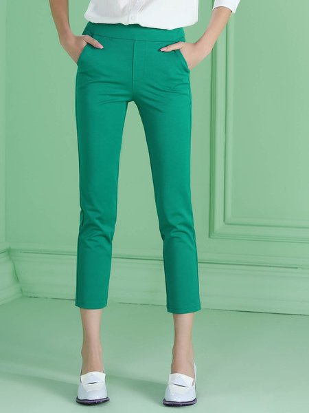 Green Plain Work Straight Leg Pant