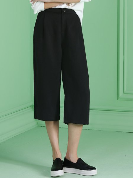 Black Cotton Work Pockets Cropped Pant