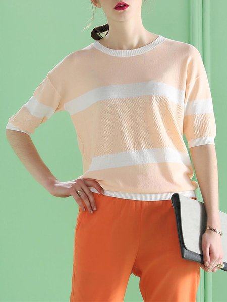 Chalky Yellow Half Sleeve Color-block Blouse