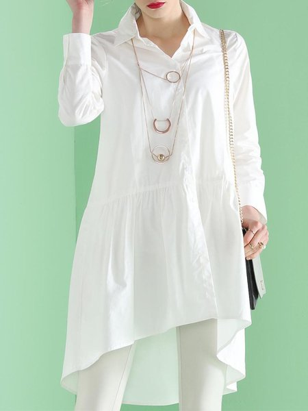 White High Low Work Cotton-blend Tunic