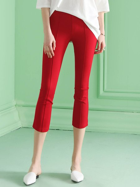 Red Work Zipper Skinny Leg Pant