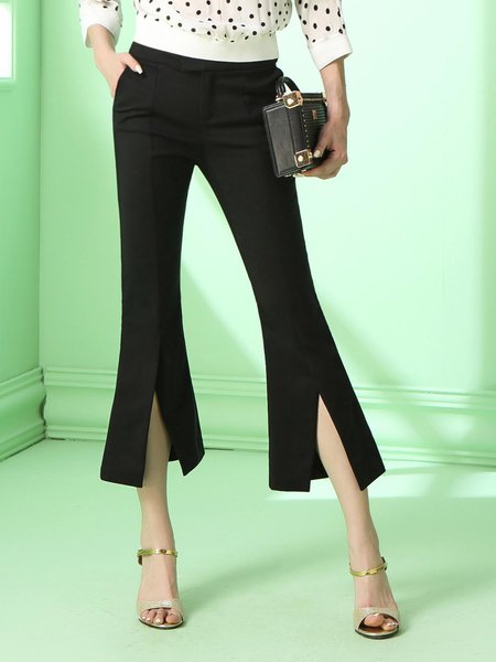 Black Plain Slit Statement Polyester Flared Pant