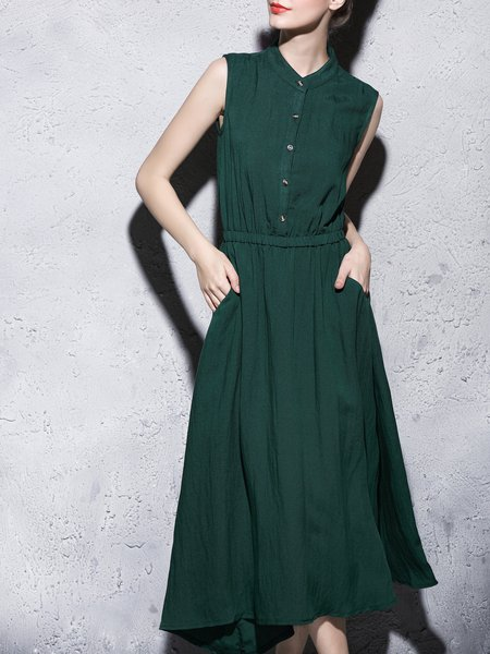 Green Cotton-blend Plain Sleeveless Stand Collar Shirt Dress