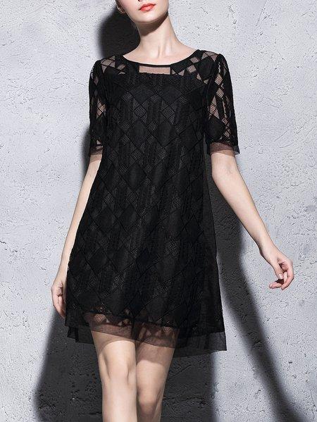 Black Embroidered H-line Crew Neck Casual Mini Dress