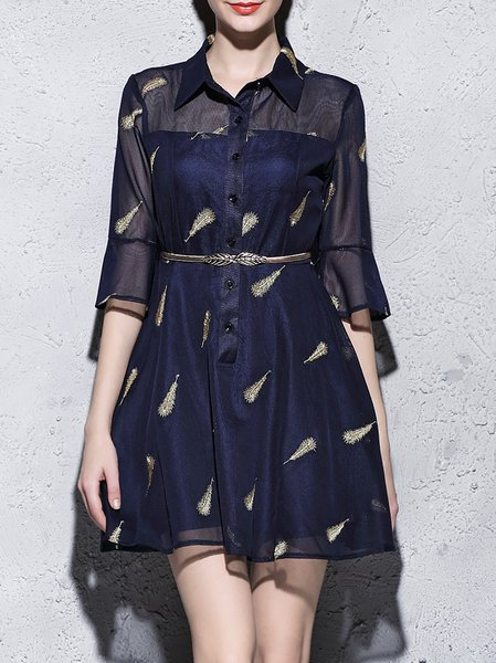 Blue Cocktail Embroidered Shirt Collar A-line Shirt Dress
