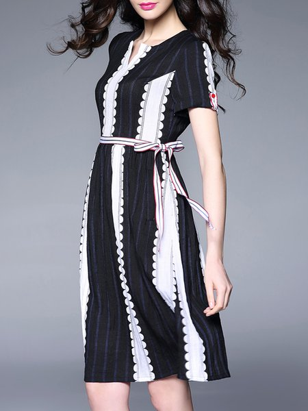 Two Piece Stripes Elegant Short Sleeve Midi Dress