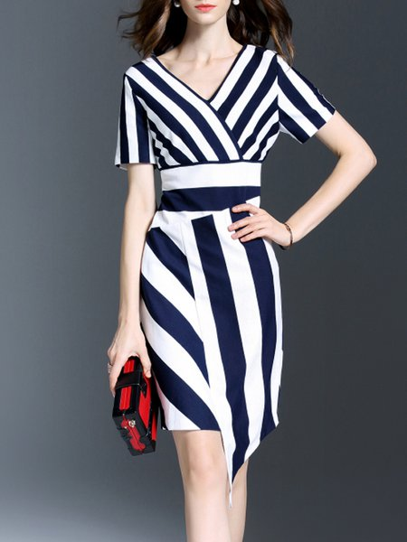 Work Stripes V Neck Short Sleeve Midi Dress