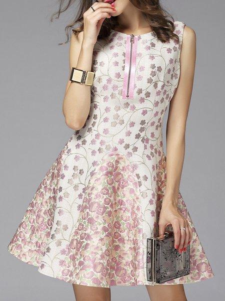 Pink Skater Casual Jacquard Mini Dress