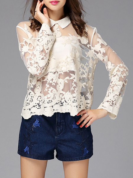 Ivory Two Piece Shirt Collar Cotton Statement Long Sleeve Blouse