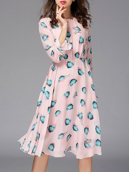 Pink Bateau/boat Neck Abstract Long Sleeve Swing Midi Dress