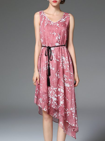 Pink Asymmetrical Sleeveless Polyester Asymmetric Midi Dress